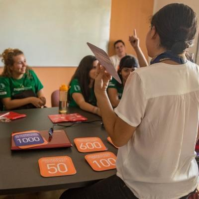 Students take part in a training activity at their Public Health placement for teenagers in Mexico.